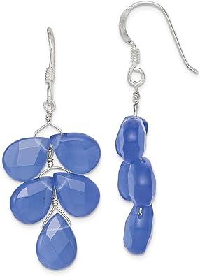 Blue quartz and sterling silver dangle earrings