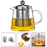 Glass Teapot Infuser PLUIESOLEIL with Heat Resistant Stainless Steel Infuser Perfect for Tea and Coffee (450ML)