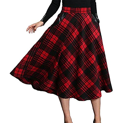 ETCYY Womens Vintage Geometric Thicken Suede Zip Up Midi Plaid Skirts