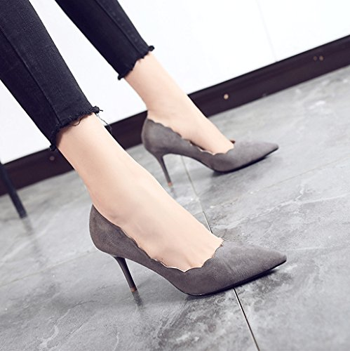 Autumn Pointed High Heels Sexy Gray Suede Shoes Fashion Ladies Shoes (Color : Gray, Size : 38)