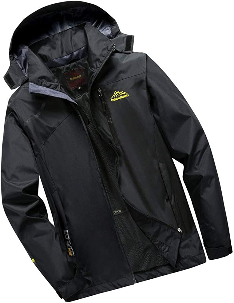 iLXHD Mens Mountain Waterproof Ski Jacket Outdoor Windproof Rain Jacket