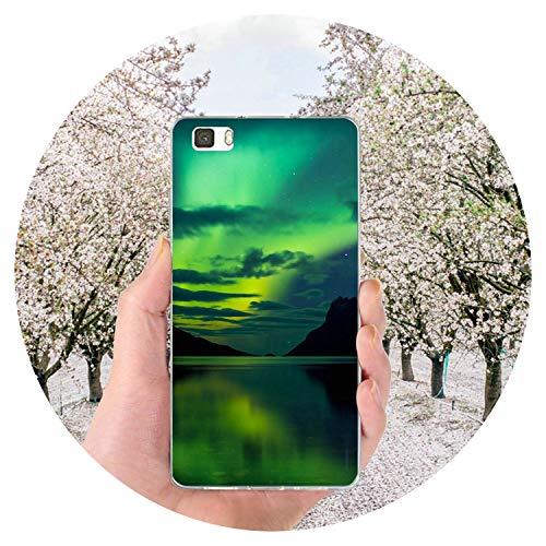 Jade clear Phone Case Fundas de TPU para teléfono Celular Huawei Lite Bolsas Aurora Austrialis Especial, For Huawei Y6 II,...