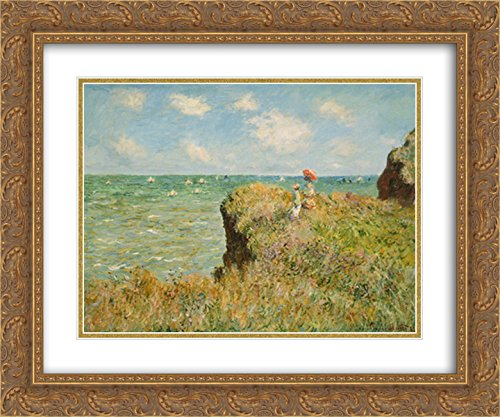 Cliff Walk at Pourville, 1882 2X Matted 15x18 Gold Ornate Framed Art Print by Claude Monet