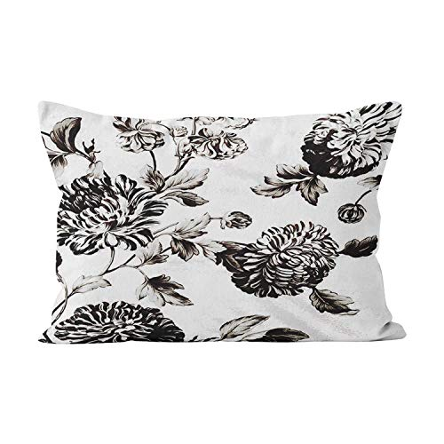 Gygarden Antique White and Black Botanical Floral Toile No.2 Plush Hidden Zipper Home Decorative Rectangle Throw Pillow Cover Cushion Case 12X20 Inch Boudoir One Side Design Printed Pillowcase