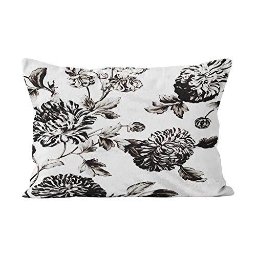 GygardenAntique White and Black Botanical Floral Toile No.2PlushHidden Zipper Home Decorative Rectangle Throw Pillow Cover Cushion Case12X20InchBoudoirOne Side Design Printed Pillowcase