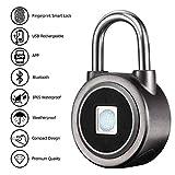 Fingerprint Padlock - RoMech 2nd Gen Smart Bluetooth Keyless Biometric Lock for Gym, Locker, Outdoor Door, Backpack, Luggage Suitcase, Bike, Office, Waterproof, USB Charging (Grey)