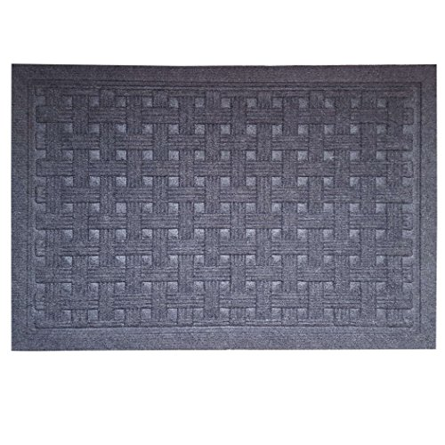 SafetyCare Heavy Duty Rubber Backed Charcoal Grey Doormat – All Weather Conditions Door Mat – Durable Jute Basket Weave Design Entrance Mat - 24 x 16 Inches – 2 - Mats Door Jute
