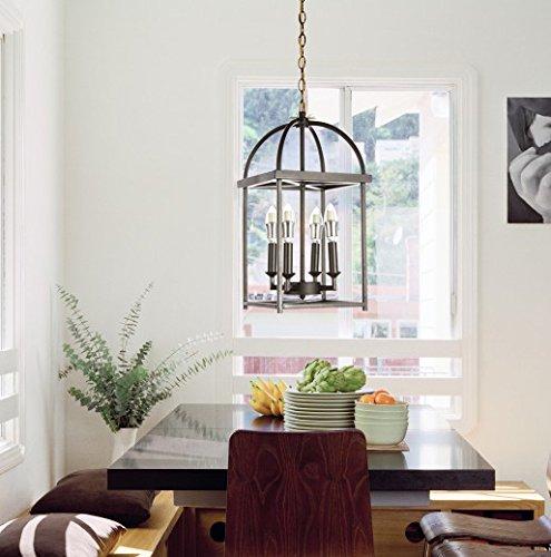 New Galaxy Antique Black finish 4-light Hanging Lantern Iron Frame Pedant Chandelier ACA-L4 W10 X H7BK