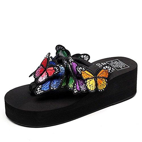 Mano Cuña Flores 37 Sandalias Mano De A Verano Black Mujeres Chanclas Mariposa Las Hechas Bordadas black 7Fqwpx