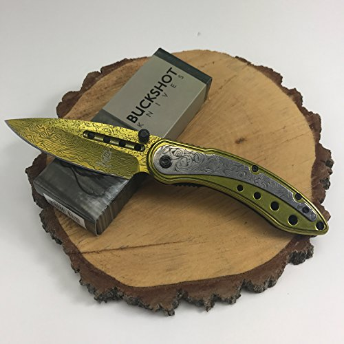 Buckshot Knives Thumb Open Spring Assisted Color Damascus Etched Stainless Steel Handle W/Damascus Etched Blade Pocket Knife (PBK207GD)