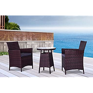 The San Tropez Collection - 3 Pc Outdoor Rattan Wicker Sofa Patio Furniture Set. Choice of Set & Cushion Color (Mixed Brown / Grey Cushions)