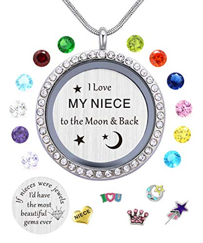 beffy I Love My Niece to The Moon & Back Pendant Necklace,White Gold Plated, Floating Charms Locket for Girls & Teen Girls, Gift from -