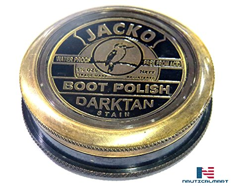 NAUTICALMART Antique Brass Compass Jacko Boot Polish TAN Leather Compass