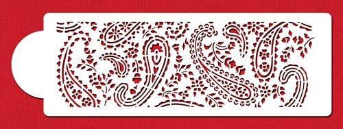 beige//halbtransparent Designer Schablonen C465/Paisley Kuchen Schablone