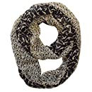 Peach Couture Beautiful Vintage Two Colored Bird Print Infinity Loop Scarf Black Cream