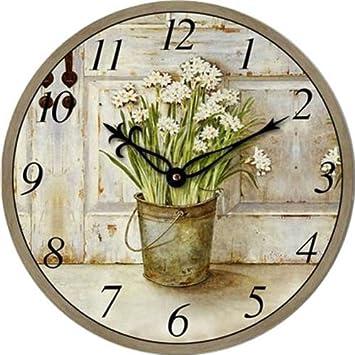 Technoline WT 1010 Wanduhr, Ø 34cm, Blumentopf-Design: Amazon.de: Uhren