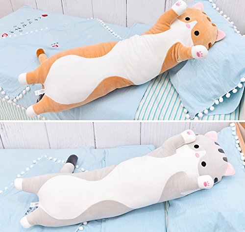 unlockgift Cute Large Long Pussy Cat Stuffed Animal Toy Plush Cat Pillow (Grey, 43inch)