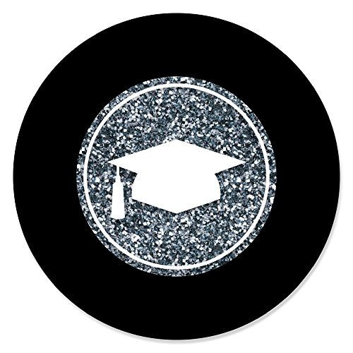Do Yourself Graduation Invitations - Big Dot of Happiness Silver Tassel Worth The Hassle - Graduation Party Circle Stickers - 24 Count