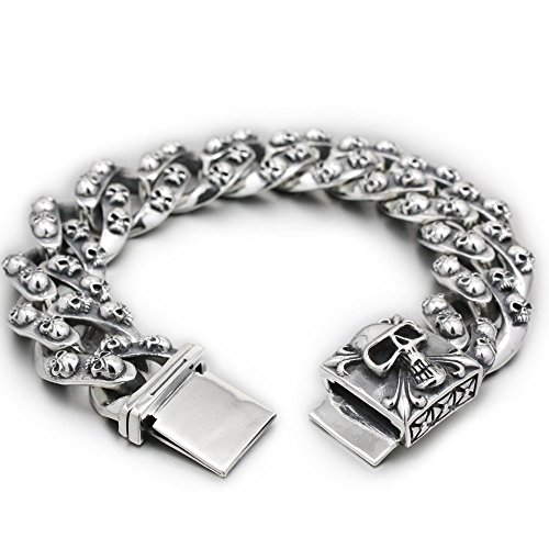Huge Heavy 925 Sterling Silver Skulls Mens Biker Bracelet 8H012 (12.5 Inches)