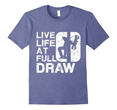 - Mens Live Life at Full Draw Bowhunting T-Shirt Large Heather Blue