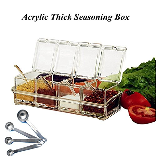 KRexpress 4pcs Acrylic Seasoning Box Seasoning Storage Clear Spice Rack Organizer Condiment Holder Container Spices ,with Stainless Steel Measuring Spoons Set of 4