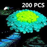 200PCS Glow in The Dark Garden Pebbles,Glow Stones Rocks for Walkways Outdoor Decor Aquarium Fish Tank Garden Decorative Stones for Path Lawn Yard Walkway - Blue/Green