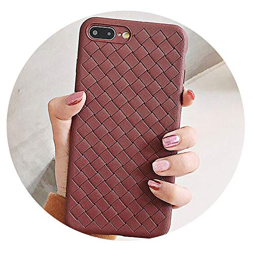 Solid Color Woven Pattern Fitted Case for iPhone Xs X XS Max XR 6S 7 8 Plus Soft TPU Protector Full Body Coverage Shell,Brown,for iPhone 8