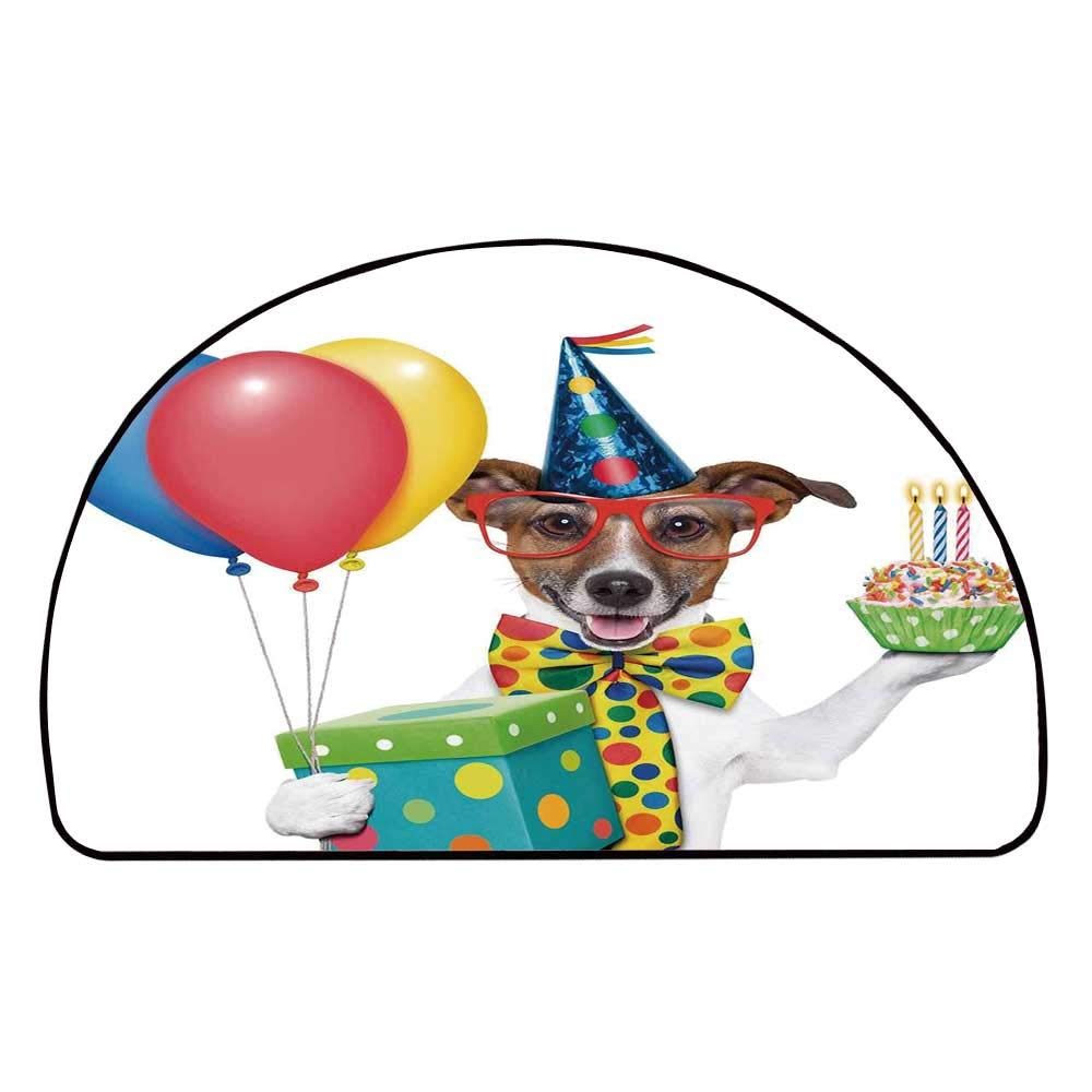 C COABALLA Birthday Decorations for Kids Comfortable Semicircle Mat,Waiter Server Party Dog with Hat Cone Cupcake Balloons Boxes for Living Room,11.8'' H x 23.6'' L