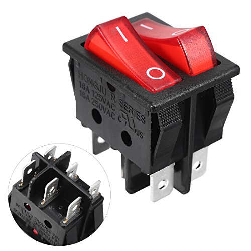 uxcell Red Light Illuminated 6 Pin Dual SPST ON/OFF Boat Rocker Switch AC 16A/250V