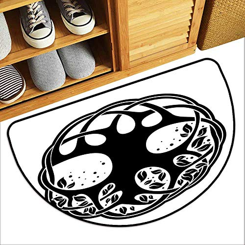 (YOFUHOME Celtic Outdoor Door mat Celtic Tree of Life Historic Scottish Spiritual Nature Branches Root Knots Picture Hard and wear Resistant W23 x L15 Black)
