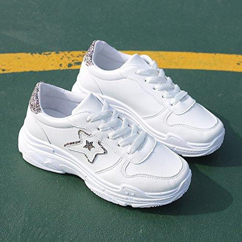 scarpe di autunno bianco Spessore Bianco della fine pattino Up Wuyulunbi scarpe primavera e Lace Alla XwYXBg7