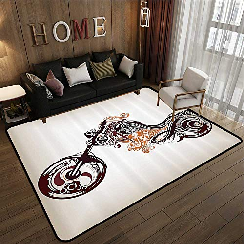 Throw Rugs,Manly Decor,Motorbike Shape with Decorative Curvy Lines Floral Ornamental Design Art Print 63