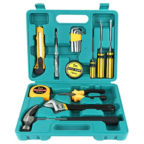 Homeowner Tool Set,WYCTIN 16 Pieces Durable Household Small Hand Tool Kit with Plastic Tool box Storage Case for DIY, Interior Decorating, Household Chores, Car (Basic Repair Kit)