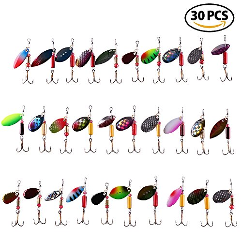 LotFancy 30PCS Fishing Lures Spinnerbait for Bass Trout Walleye Salmon by Assorted Metal Hard Lures Inline Spinner Baits (Various) Bass Spinner