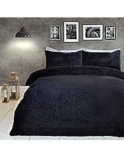 Sleepdown Wafel Fleece Thermisch Warm Cosy Super Zacht Dekbedovertrek Quilt Beddengoed Set met Kussenslopen