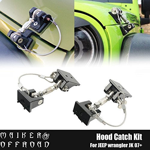 MAIKER Jeep JK Hood Latch Locking Hood Hold Down, 1 Pair