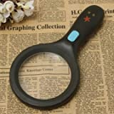 2.5X 90mm 5X 22mm Handheld Reading Pocket Magnifying Magnifier Glass with 10 LED Black