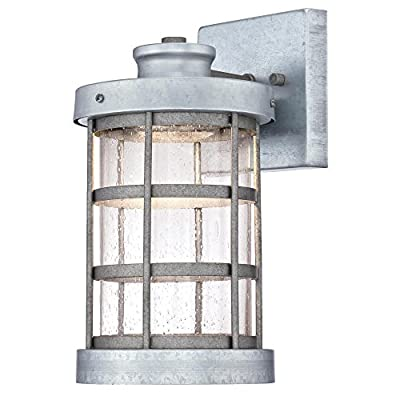 Westinghouse 6347800 Barkley One-Light LED Outdoor Wall Fixture, Galvanized Steel Finish with Clear Seeded Glass