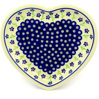 Platter Daisy (Polish Pottery 10¾-inch Heart Shaped Platter (Bright Peacock Daisy Theme) + Certificate of Authenticity)
