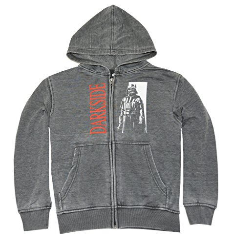 Star Wars Boys' Big Darth Vader Burnout Fleece Jacket, Charcoal Heather, S
