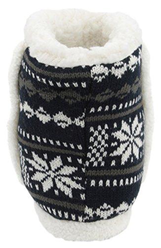 Slumberzzz Hausschuhe für Damen Pantoffeln, gestrickt, Fair-Isle-Design Dunkelblau