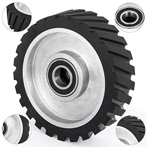 Happybuy 8x2inch Belt Grinder Rubber Wheel Serrated Rubber Contact Wheel 6206 Bearing Belt Grinder Wheel for 2x72inch Knife Making Grinder
