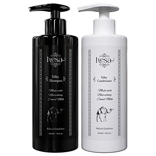 Natural Shampoo & Conditioner Set with Camel Milk & Argan Oil - For Damaged, Colored & Dry Hair - Anti Dandruff - Sulfate Free - Anti-Frizz - Deep Cleaning & -