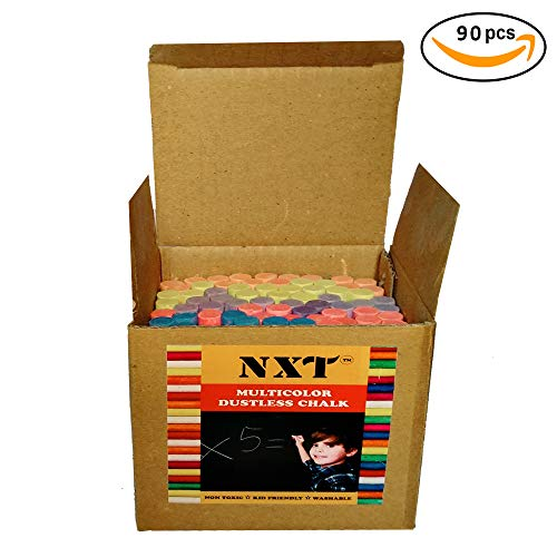 (NXT Dustless Multicolor Chalks (90 Counts) Premium Quality, Non Toxic, Easily Washable and Eco Friendly Chalks)