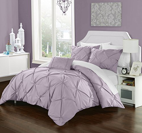 Chic Home 8 Piece Yvonne Pinch Pleated, ruffled and pleated complete Queen Bed In a Bag Duvet Set Lavender With White Sheets included