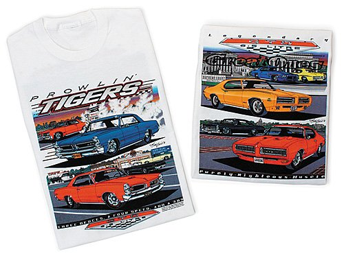 Car White Adult T-shirt - Pontiac GTO Prowlin Tigers Classic Car T-shirt, Medium