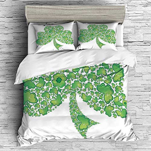 Patterns Trinity (SCOCICI King Size Duvet Cover Set/Celtic,Irish Shamrock Figure Made with Small Clover Patterns Holy Trinity Symbol Graphic,Green White / 3 Piece Bedding Set)