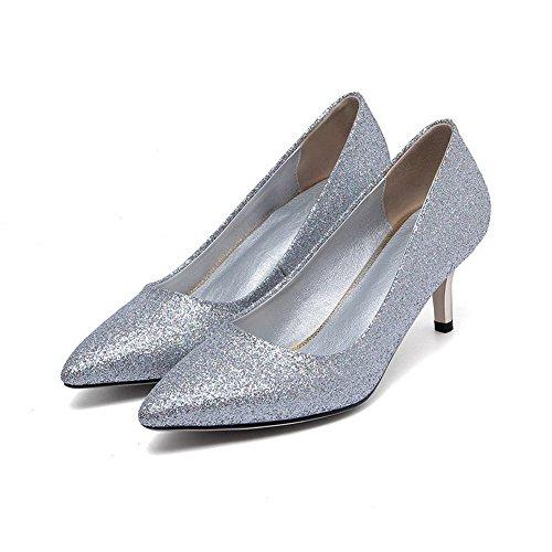 Amoonyfashion Donna Materiale Morbido Pull-on A Punta Chiusa Gattino-tacco Solido Pompe-scarpe Argento