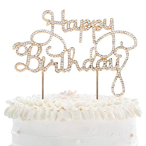 Happy Birthday Rhinestone Crystal Gold Metal Cake Topper Cheer to Bday Party Sparkly Decoration Keepsake Gift - 5.1'' x 6.7''(Gold).