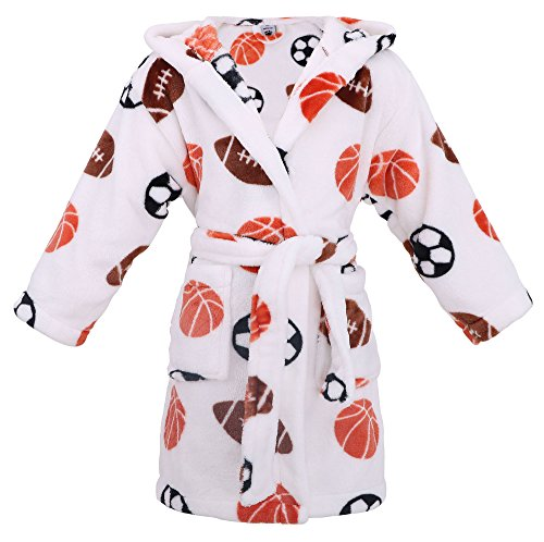 - Baby Hooded Printed Flannel Fleece Bathrobe Girls Robe with Pockets,Sports ,S